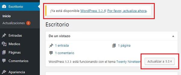 DisenosWeb Actializacion de WordPress